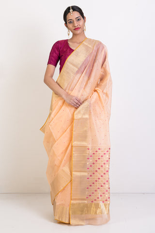 Peach Handloom Chanderi Saree With Woven Gold and Pink Motif