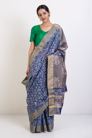 Indigo Handloom Pure Cotton Saree With Hand Done Block Print and Gold Border and Pallu