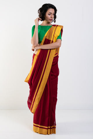 Maroon Handloom Cotton Saree with Yellow Woven Border