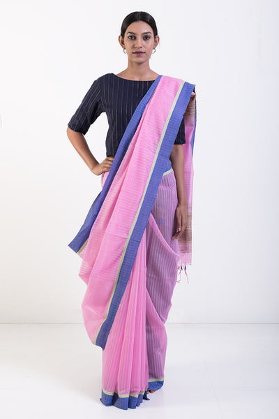 Via East pink handwoven pure cotton saree with blue border