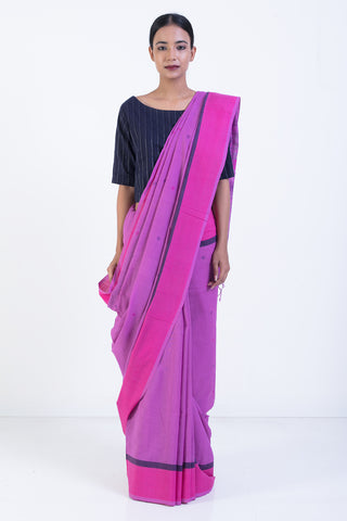 Purple Handloom Khadi Cotton Saree with Woven Motif