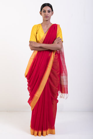 Red Handwoven Pure Cotton Saree with Yellow Border