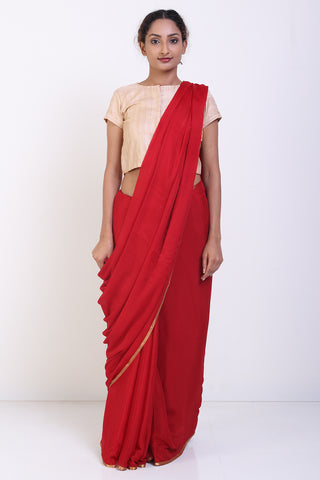 Red Pure Crepe Saree with Subtle Zari Border