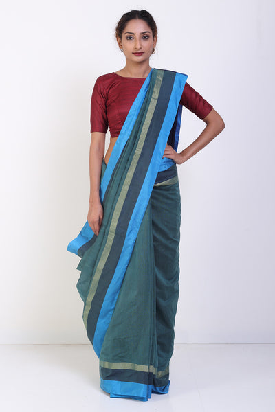 Via East olive green silk cotton saree with gold and blue border