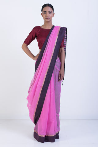 Pink Handloom Silk Cotton Sheer Saree with Striped Pallu