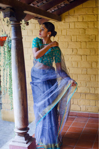 Grey Handloom Muslin Silk Sheer Saree with Sequin Work