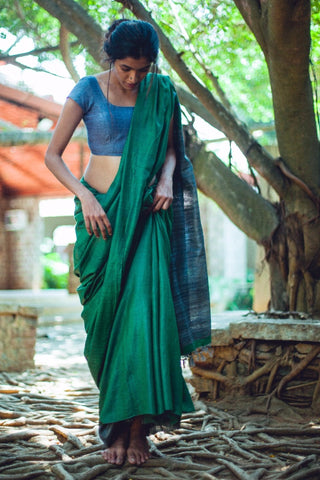 Green Handloom Tussar Silk Saree with Grey Ghicha Silk Pallu
