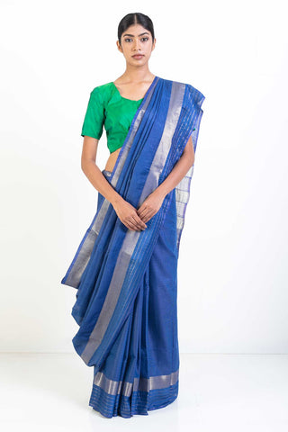 Blue Handloom Self Patterned Kosa Silk Saree with Gold Border