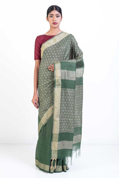 Via East forest green handloom kosa silk saree with self woven pallu