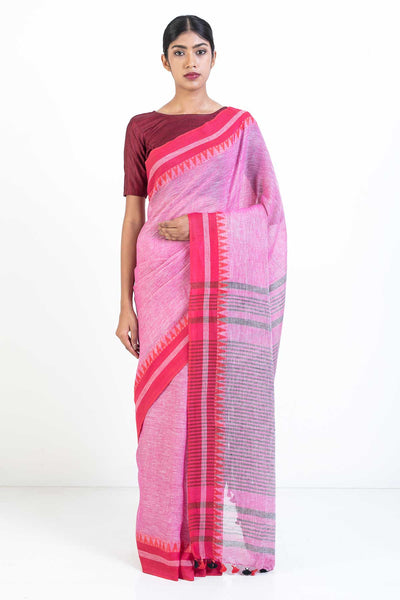 Via East pink handloom linen saree with red woven temple border