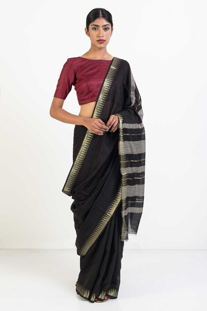 Black Handloom Self Patterned Kosa Silk Saree with Gold Border