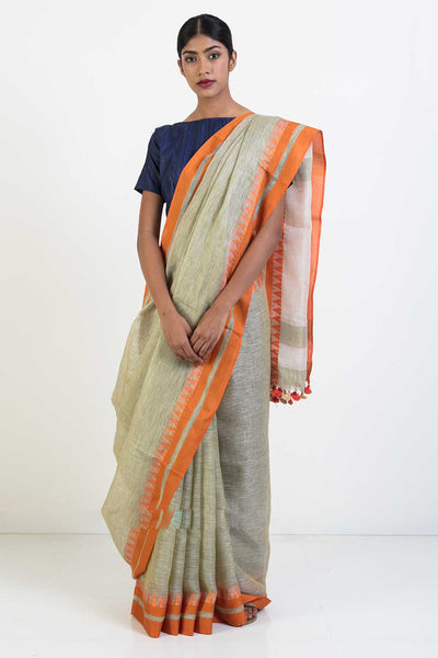 Via East beige handloom linen saree with orange woven temple border