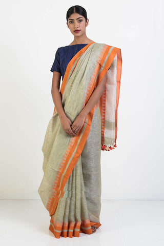 Beige Handloom Linen Saree with Orange Woven Temple Border