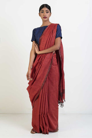 Rust Silk Saree with Self Woven Pattern