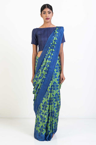 Green Blue Pure Soft Silk Saree with Floral Print