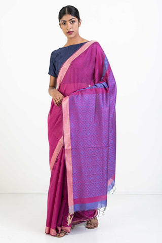 Pink Handloom Kosa Silk Saree with Self Woven Pallu