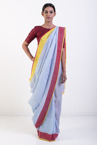 Sky Blue Handwoven Pure Linen Saree with Red and Yellow Border