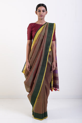 Brown Handwoven Pure Linen Saree with Yellow and Green Border