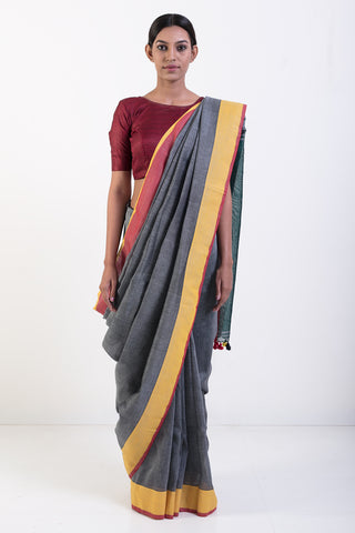 Grey Handwoven Pure Linen Saree with Yellow and Red Border