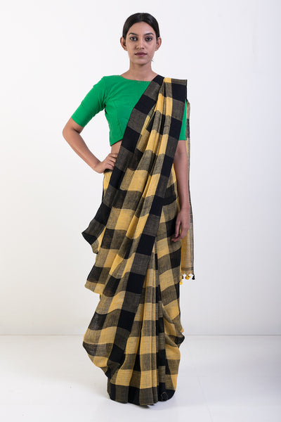Via East yellow and black handwoven pure linen saree