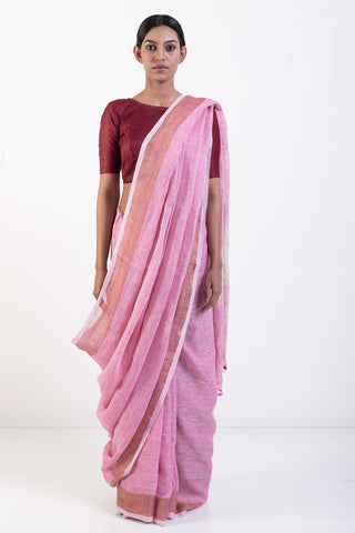 Pink Handwoven Pure Linen Saree with Zari Border and Pullu