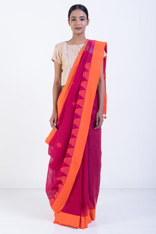 Pink Handloom Pure Linen Jamdani Saree Orange