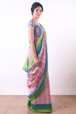 Red Printed Handloom Linen Saree- Linen Sarees from Via East