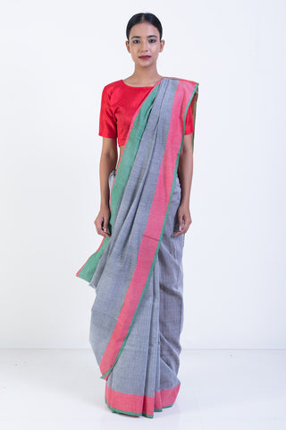 Grey Handloom Pure Linen Cotton Saree With Green and Red Border