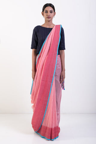 Pink Handwoven Pure Linen Cotton with Pink Border