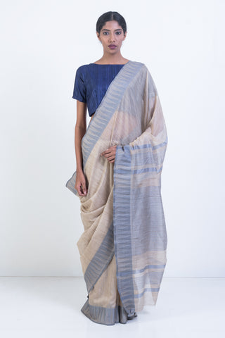 Beige Handloom Kosa Silk Saree with Blue Woven Border