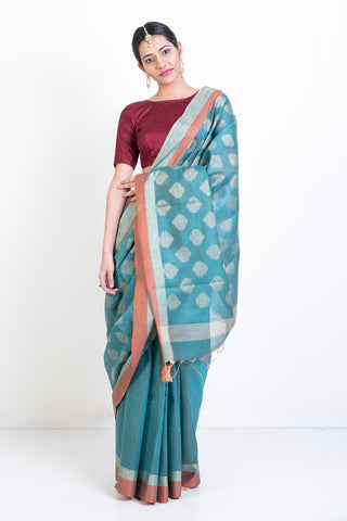 Blue Handloom Silk Saree with Zari Woven Pattern