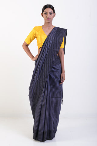 Grey Handwoven Pure Kosa Silk Striped Saree