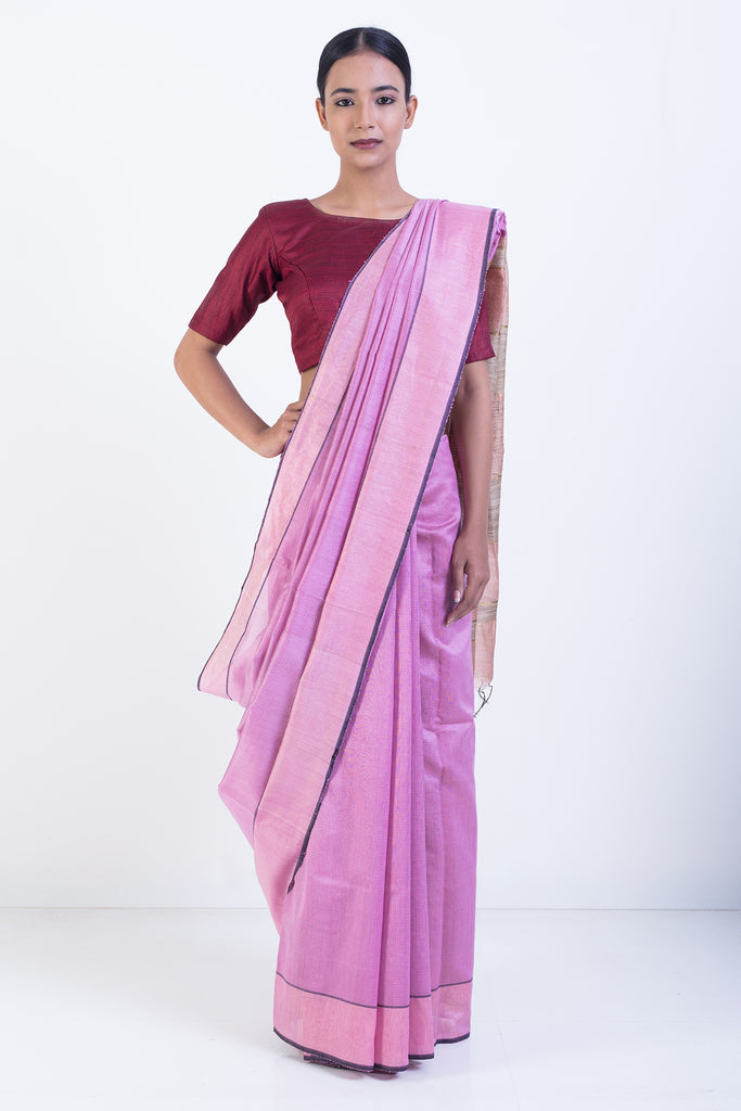 Pink Handloom Pure Silk Saree with Melange Pink Border