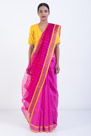 Pink Handloom Pure Matka Silk Saree with Sequin Work and Sheer Pallu
