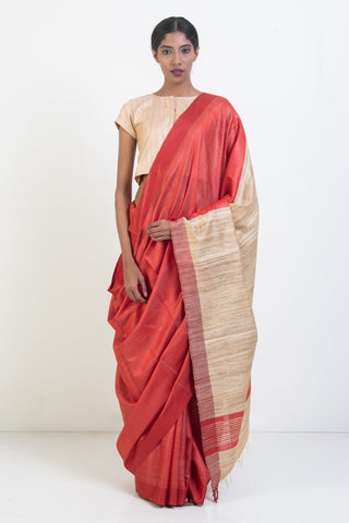 Red Pure Tussar Silk Saree with Beige Pallu