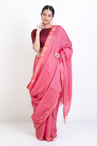 Red Handloom Pure Silk Saree with Self Woven Pattern