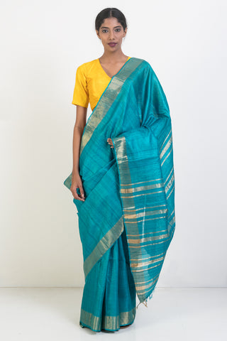 Turquoise Pure Silk Saree with Woven Border and Striped Pallu