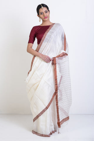 White Handloom Matka Silk Saree with Zari Border Sequin pallu