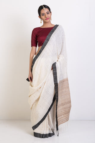 White Resham Handloom Saree With All Over Handwoven Pattern and Sequin Work