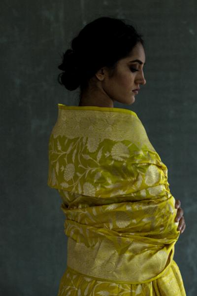 Via East daffodil yellow handloom pure silk banarasi saree with all over intricate zari motifs