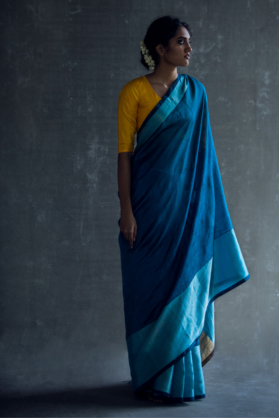 Via East teal blue handloom silk cotton mangalagiri saree with rich silver border