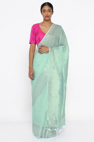 Sea Green Pure Linen Saree with Rich Silver Zari Border