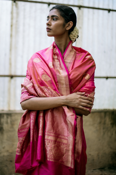 Via East bright pink handloom pure silk banarasi saree with all over traditional motifs and rich border