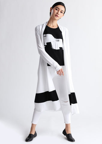 Long black and white cotton jumper