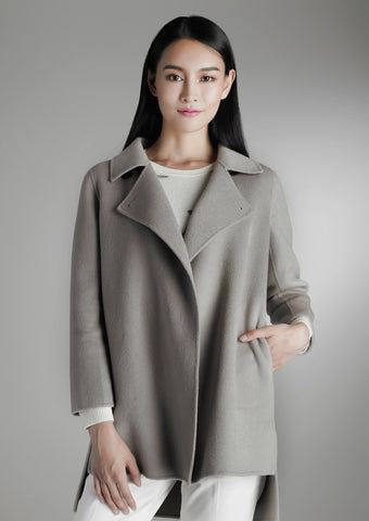 Side-slit cashmere coat