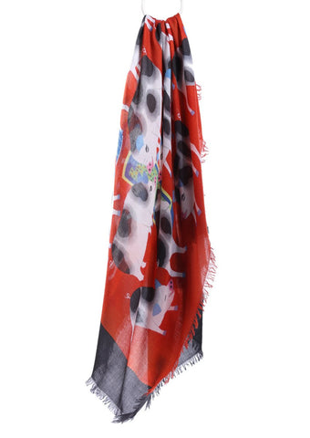 Cashmere square scarf by Chinese landscape painter