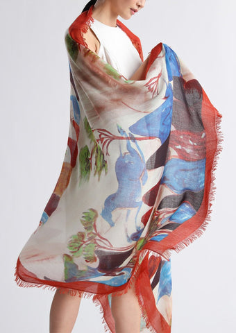 Horse painting cashmere scarf