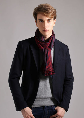 Men's check cashmere Scarf