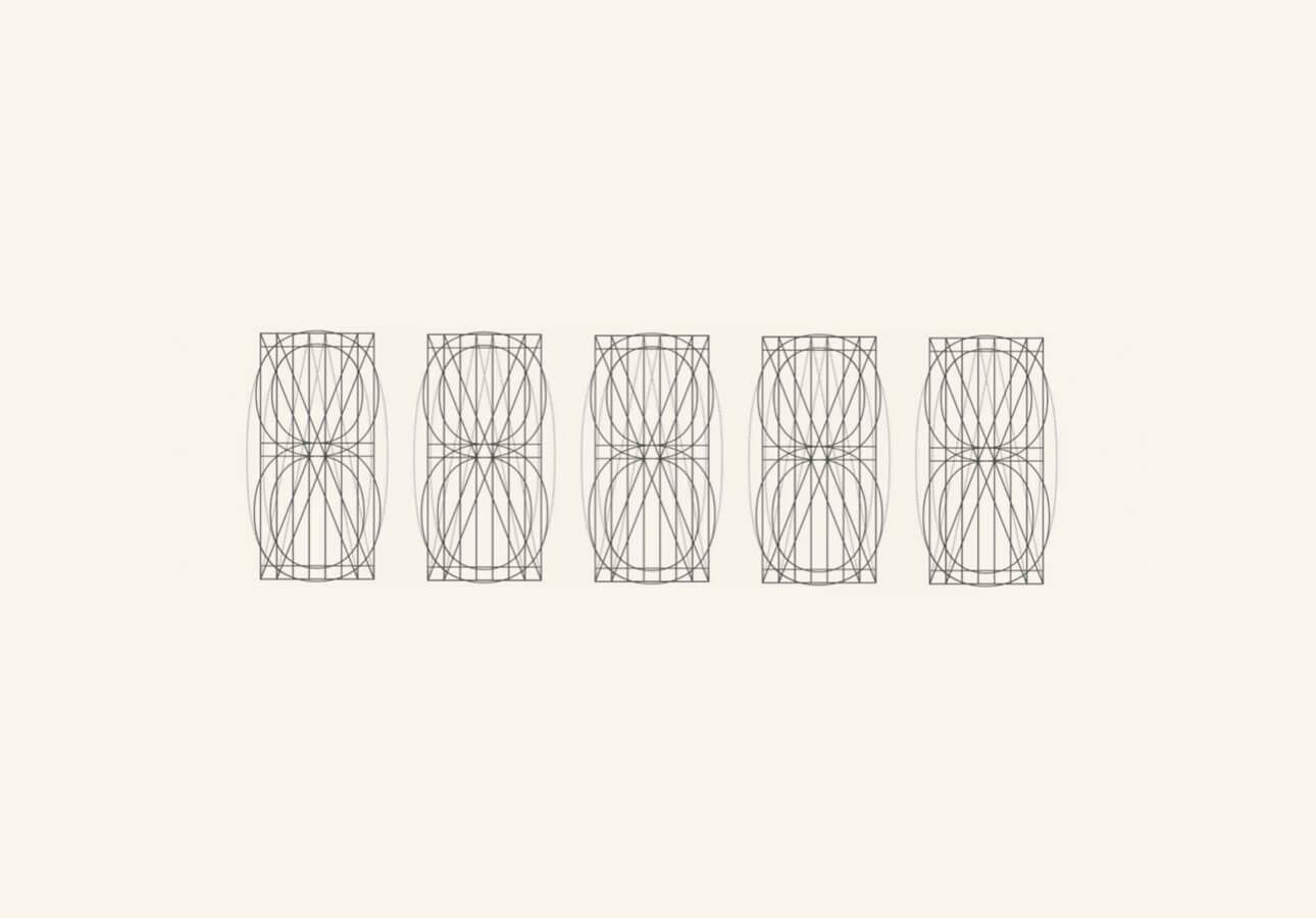 Five alignment grids for lettering and illustration featured on a white background.