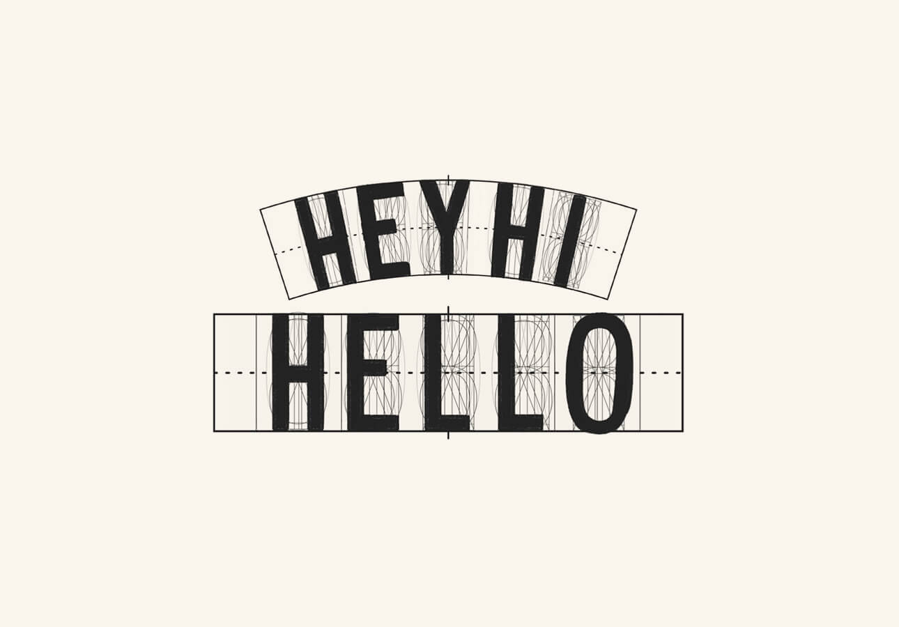 """The words """"Hello"""" and """"Hey, Hi"""" created using tools featured in the lettering grid."""